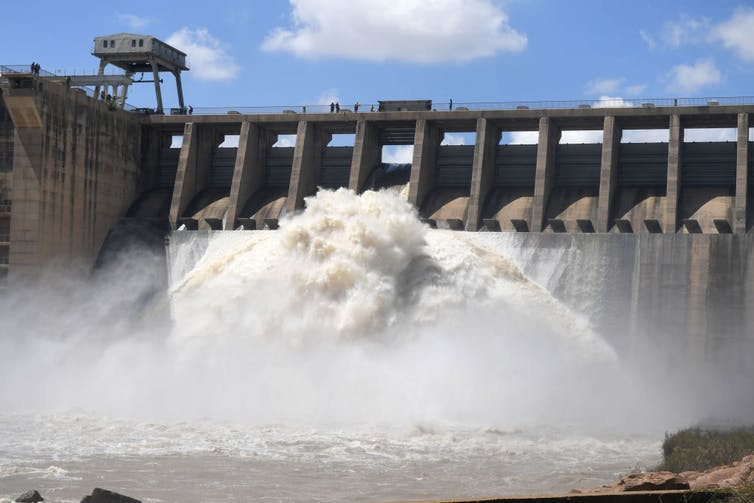 Water flows from the Vaal Dam after several sluice gates were opened in February 2021. Heavy rains in the Gauteng province resulted in a spike in dam levels. Deaan Vivier/ via GettyImages
